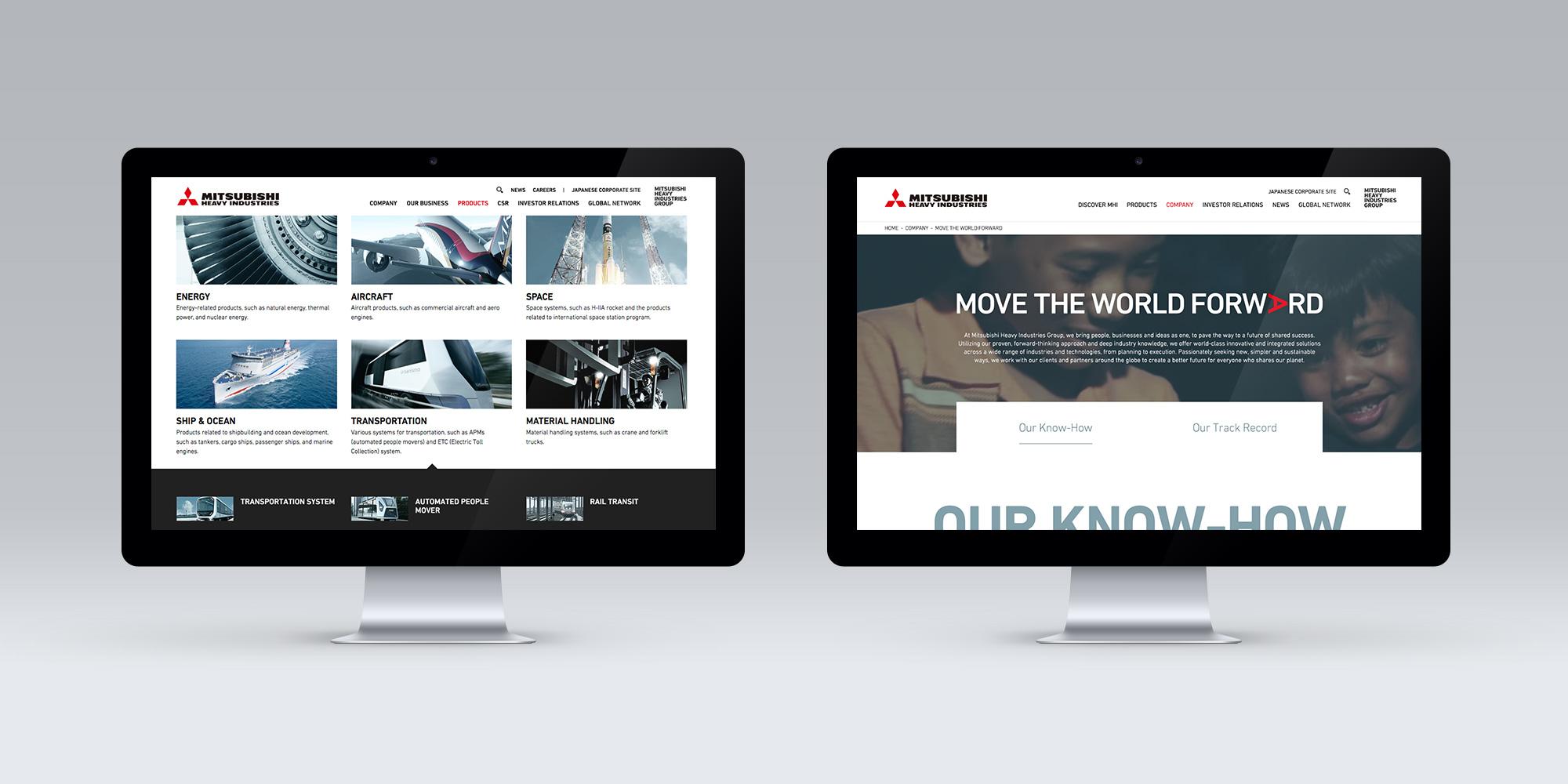 Mitsubishi Group webpage design on two monitors
