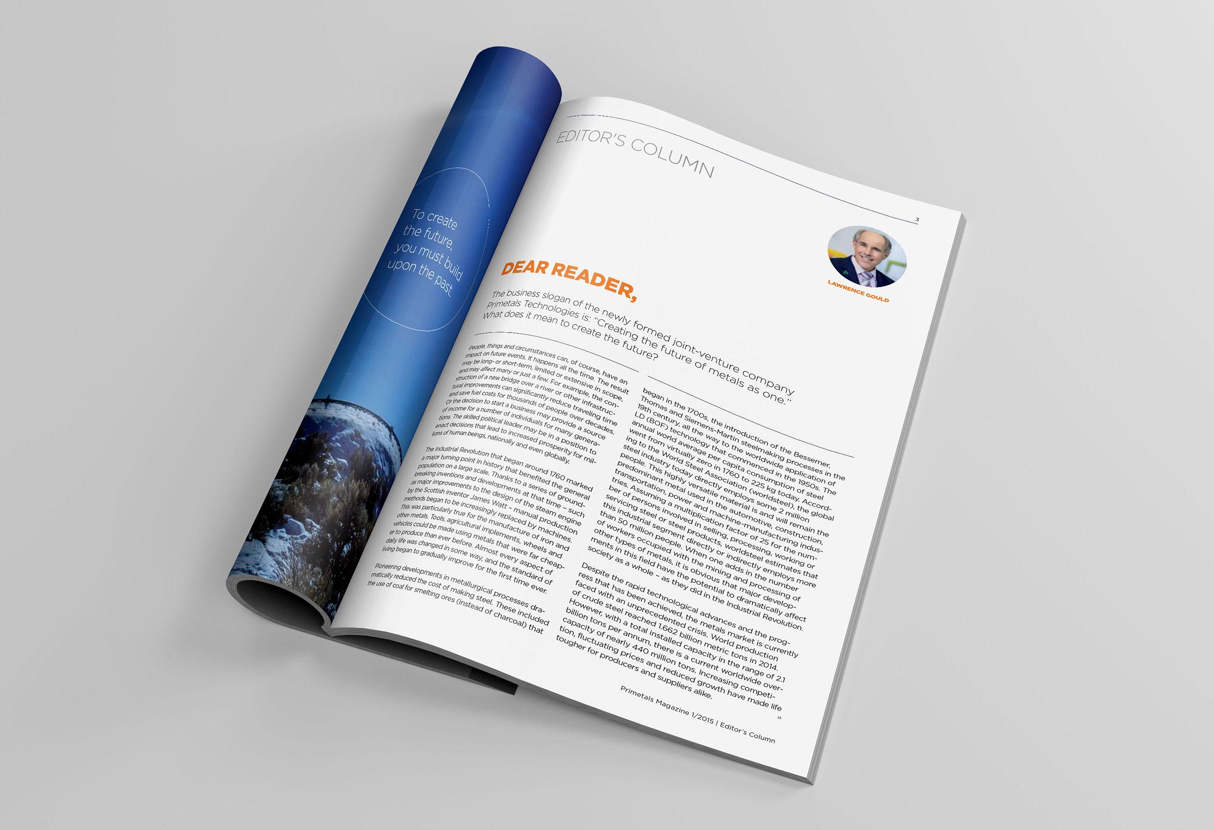 Primetals Metals Magazine inside layout of editors page