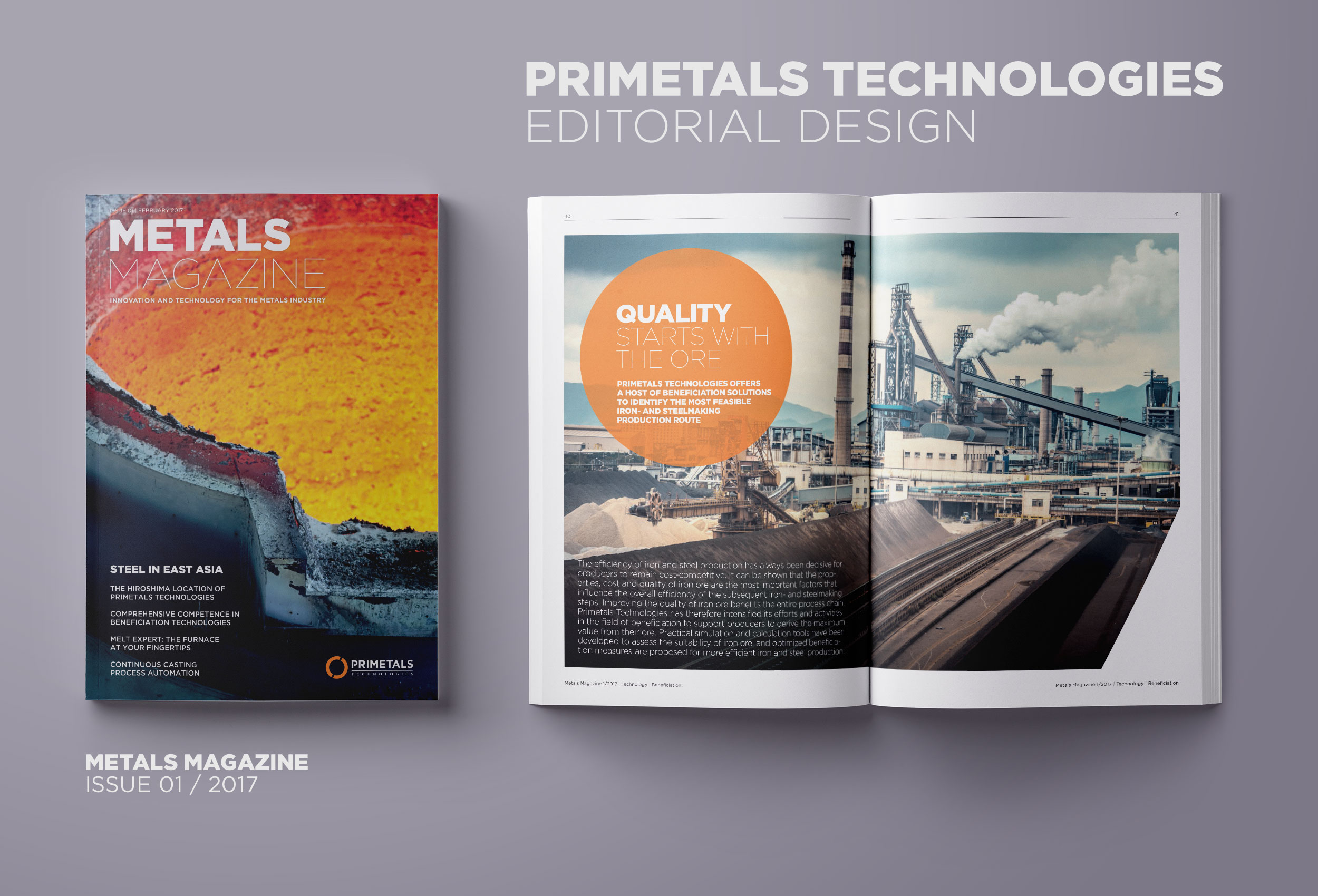 Primetals Metals Magazine layout of cover and opened magazine