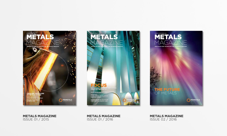 Three cover layouts of Primetals Metals Magazine