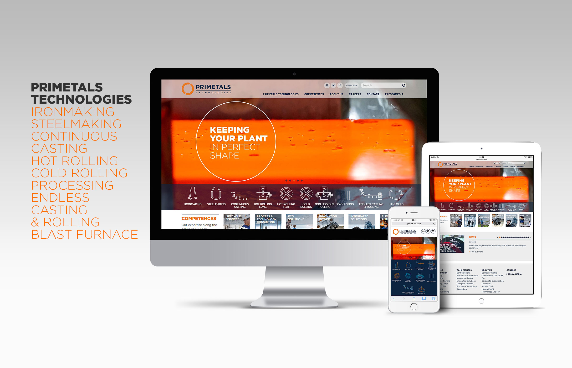 Primetals website layouts on iPad iPhone and iMac