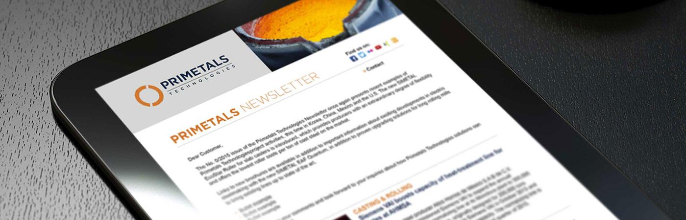 Primetals iPad newsletter mockup