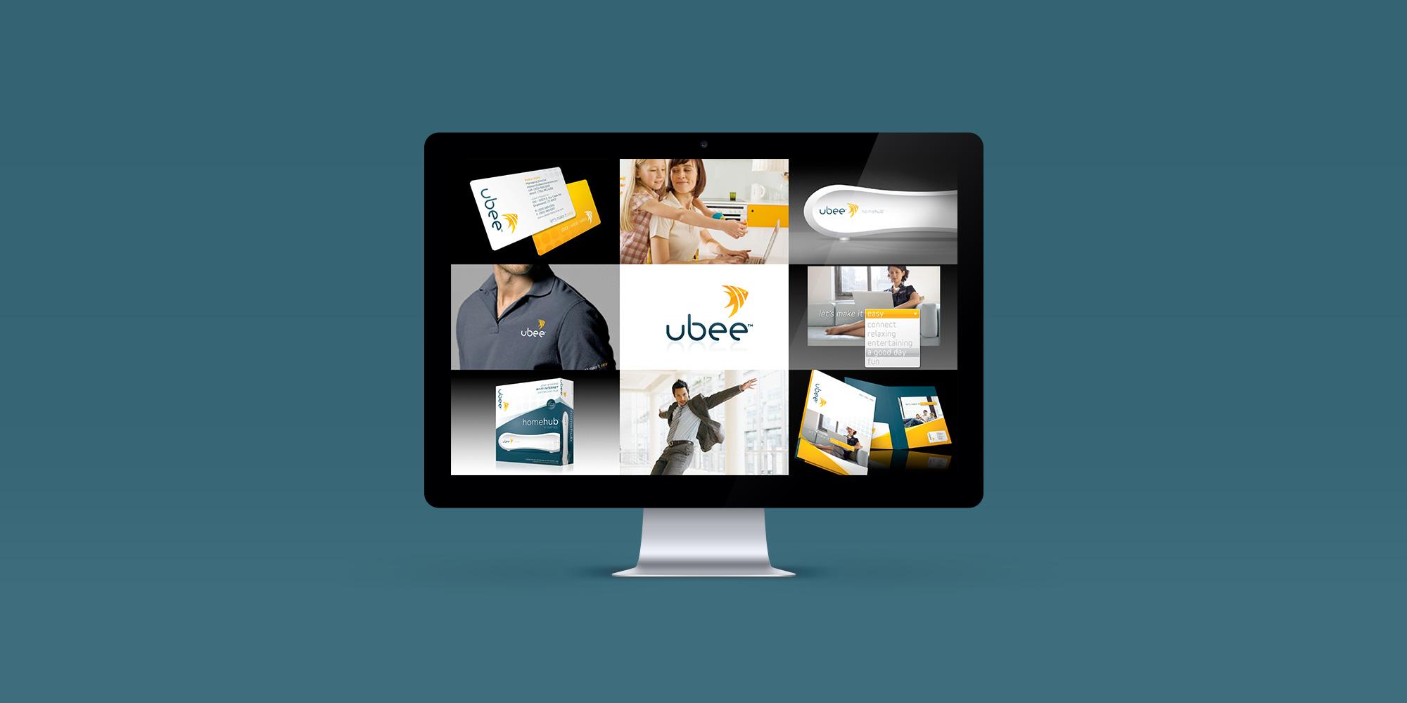 Ubee brand visuals mockup on iMac