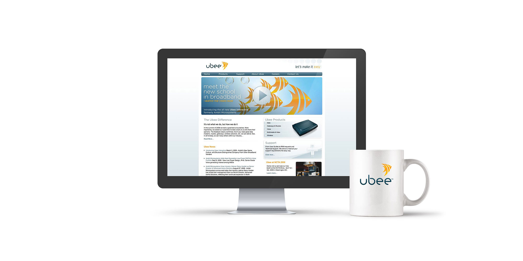 Ubee website mockup design